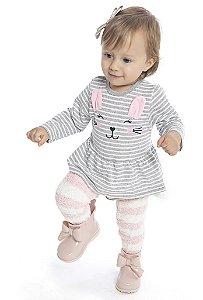 Body Vestido Bebê Menina Coelho Mescla