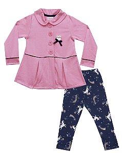 Conjunto Casaco Em Moletinho Peluciado Com Aplique e Legging Em Cotton Estampado - Rosa