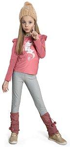 Blusa Infantil Menina Unicórnio Rosa