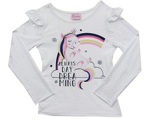 Blusa Infantil Menina Unicórnio Branco
