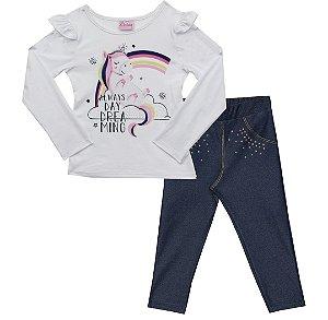 Conjunto De Blusa Com Estampa Unicórnio E Strass, Legging em Cotton Jeans e Strass - Branco
