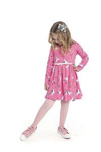 Vestido Manga Longa Infantil Menina Unicórnios Rosa