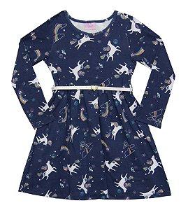 Vestido Manga Longa Infantil Menina Unicórnios Azul