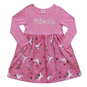 Vestido Manga Longa Infantil Menina Unicórnio Rosa