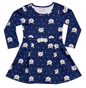 Vestido Manga Longa Infantil Menina Raposa Azul