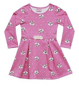 Vestido Manga Longa Infantil Menina Raposa Rosa