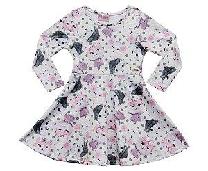 Vestido Infantil Menina Gatinho Bege