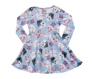 Vestido Infantil Menina Gatinho Azul