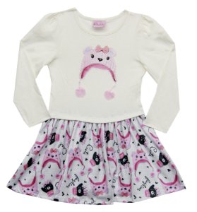 Vestido Infantil Menina Gatinha Bege