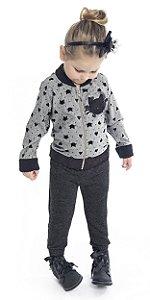 Calça Jogger Infantil Menina Gatinha Mescla Escuro