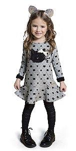 Vestido Infantil Menina Gatinha Mescla