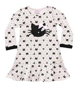 Vestido Infantil Menina Gatinha Rosa