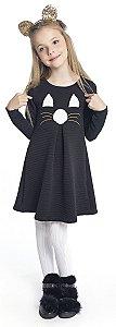Vestido Infantil Menina Gatinho Preto