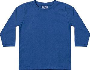 Camiseta Manga Longa Infantil Menino Básica Azul