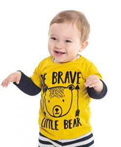 Camiseta Bebê Menino Urso Amarelo