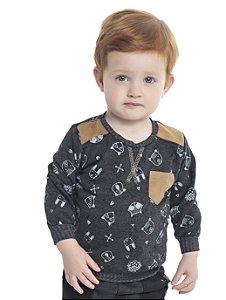 Blusão Bebê Menino com Bolso Mescla Escuro