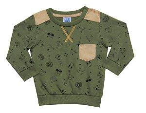 Blusão Bebê Menino com Bolso Verde Militar