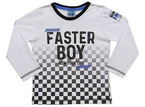 Camiseta Bebê Menino Faster Boy Branco