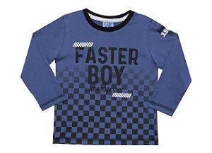 Camiseta Bebê Menino Faster Boy Azul
