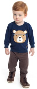 Blusão Bebê Menino Urso Azul