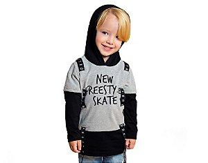 Camiseta Manga Longa com Capuz Infantil Menino Mescla