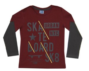 Camiseta Infantil Menino Skate Bordô