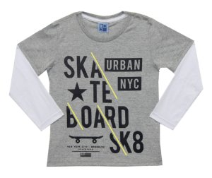 Camiseta Infantil Menino Skate Mescla