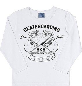 Camiseta Infantil Menino Skatebording Branco