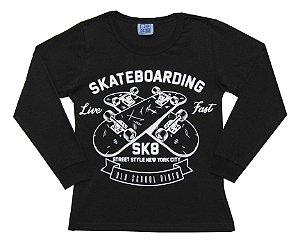 Camiseta Infantil Menino Skatebording Preto