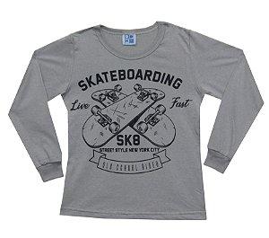 Camiseta Infantil Menino Skatebording Cinza