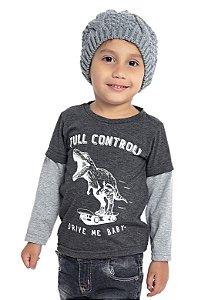 Camiseta Infantil Menino Dinossauro Mescla Escuro