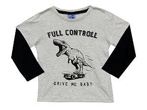 Camiseta Infantil Menino Dinossauro Mescla Claro