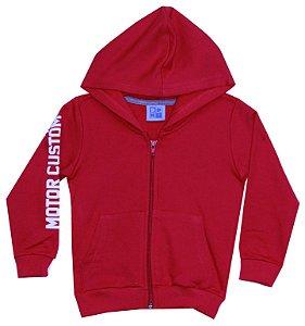 Jaqueta Em Moletom Com Estampa, Capuz E Bolso -  Vermelho