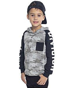 Blusão Infantil Menino com Capuz Mescla