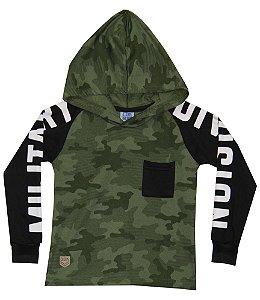 Blusão Infantil Menino com Capuz Verde Militar