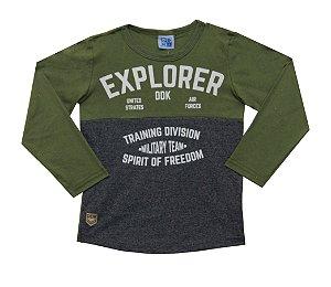Camiseta Infantil Menino Explorer Verde Militar