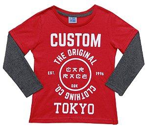 Camiseta Infantil Menino Custom  Vermelho