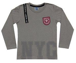 Camiseta Infantil Menino NYC Cinza