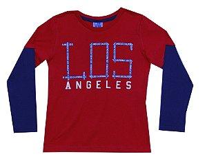 Camiseta Infantil Menino Los Angeles Vermelho