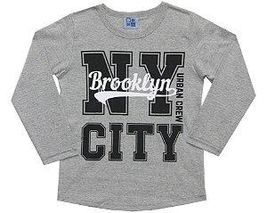 Camiseta Manga Longa Infantil Menino NT City Mescla