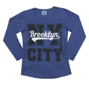 Camiseta Manga Longa Infantil Menino NT City Azul