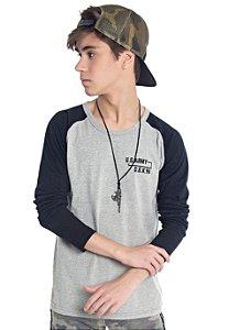 Camiseta Manga Longa Juvenil Menino US Army Mescla
