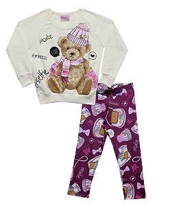 Conjunto com Casaco em Moletom Estampado Urso com Legging em Suplex Estampada Bege