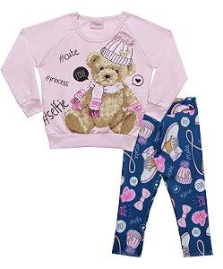 Conjunto com Casaco em Moletom Estampado Urso com Legging em Suplex Estampada Rosa