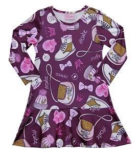 Vestido Infantil Menina Estampado Roxo