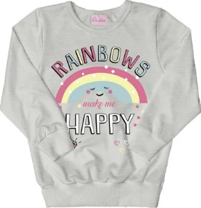 Casaco de Moletom Estampado Rainbows Mescla