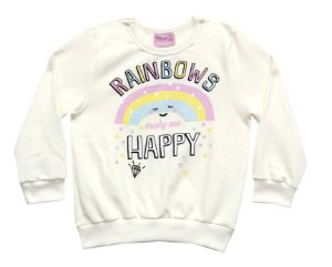 Casaco de Moletom Estampado Rainbows Natural