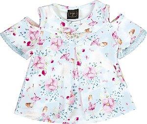 Blusa Infantil Menina Bailarinas Azul