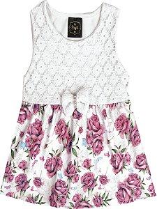 Vestido Body Bebê Menina Flores Bege
