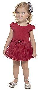 Vestido Body Bebê Menina Laço Bordo